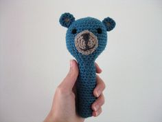 I made a bear rattle! Including link to free crochet pattern.