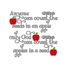 Custom Embroidered Burp Cloth - Anyone Can Count The Seeds In An Apple