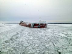 Great Lakes ice with ship
