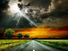 Paysage dans l'art Routes Ciel Herbe Nuage Foudre Arbres Nuage orageux Nature