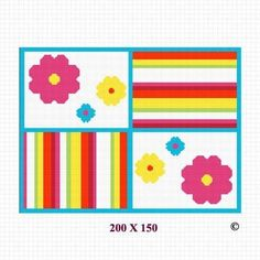 COZYCONCEPTS CROCHET AFGHAN PATTERN GRAPH FLOWERS AND STRIPES BLUE PINK COLORFUL EMAILED .PDF