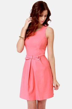 Pretty Coral Pink Dress - Fit and Flare Dress - $39.00