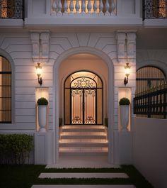 villa 375 m kuwait sarah sadeq architects Entrance Design, House Entrance, Facade Design, Door Design, Exterior Design, Neoclassical Architecture, Classic Architecture, Architecture Design, Plano Hotel