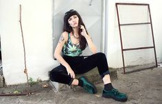 Get this look: http://lb.nu/look/7783622  More looks by Nadia Drogouli: http://lb.nu/nadiad  Items in this look:  Bodysuit, Asos Creepers, Forever 21 Sunnies   #edgy #grunge #punk