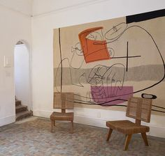 """Rare Les Mains"" LeCorbusier Tapestry. Jeanneret lounge chairs. Wright Auction Photo."