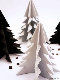 Winter Origami Trees // Abeto de Origami - BruDiy - DIY