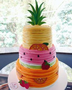 When it comes to birthday party themes, the more creative the better. So when this tropical Tutti Frutti birthday party landed in our inbox, we were immediately smitten. 2nd Birthday Party For Girl, Fruit Birthday Cake, Watermelon Birthday, Luau Birthday, Birthday Ideas, Party Ideas For Teen Girls, Fete Emma, Fruit Party, Themed Cakes