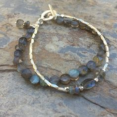 Labradorite Bracelet, Double Stranded Bracelet, Labradorite and Hill Tribe Silver, 7.5 inches long. by EastVillageJewelry on Etsy