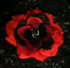 Black And Red Rose Embellished With A Skeleton by dropdeaddollface, $11.99
