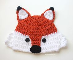 Repeat Crafter Me: Crochet Fox Hat - free pattern in baby-adult sizes.