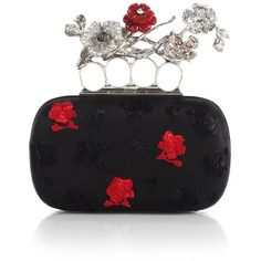 Alexander McQueen Embroidered Floral Knuckle Box Clutch