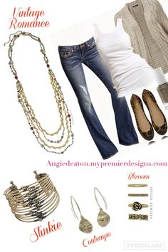 Vintage romance necklace , slinkie bracelet, blossom rings, contempo earrings. Angiedeaton.mypremierdesigns.com