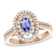 Oval Tanzanite and 1/2 CT. T.W. Diamond Ring in 14K Rose Gold