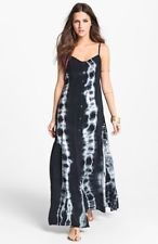 (M) Mimi Chica Blue Tie Dye Vintage Maxi Dress Spaghetti Strap Button-Up
