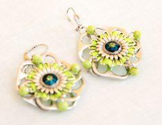 Green Pistachio Earrings/ Earrings Sun/ Pop Tab Earrings/ Satin Ribbon Jewel/ Pearls Bijou/ Unique Jewellery / Customize Jewel/ 30% discount Set