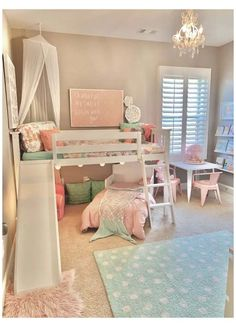 40 Girl\'s Bedroom Ideas With An Awesome Play Space Toddler Room Decor, Toddler Rooms, Baby Room Decor, Toddler Girl Bedrooms, Room Kids, Fun Toddler Beds, Little Girls Room Decorating Ideas Toddler, Toddler Bedding Girl, Little Girl Bedrooms