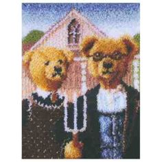Is this not the most hilarious thing you've ever seen? Not just the teddy bears, but the latch hook kit concept. American Gothic, American Art, The Happy Hooker, Latch Hook Rug Kits, God Bless America, Christmas Birthday, Rug Hooking, Art History, Craft Supplies