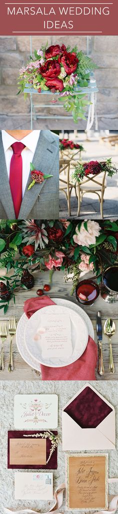 Get inspired by these chic ways to use marsala, Pantone's color of the year in your wedding! Marsala, Wedding Color Schemes, Wedding Colors, Wedding Flowers, Rouge Pantone, Wedding Themes, Wedding Styles, Wedding Centerpieces, Wedding Decorations
