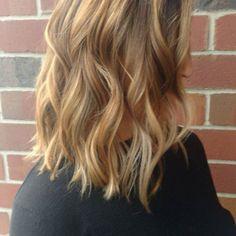 balayage highlights blonde carmel caramel long bob lob haircut https://www.blisshairsalon.net/