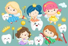 Illustration about A vector set of many tooth fairy in different colors. Illustration of child, silver, book - 145936092 Dental Images, Fruit Costumes, Dental Life, Alice In Wonderland Tea Party, Dibujos Cute, First Tooth, Kawaii, Fairytale Art, Easy Crafts For Kids