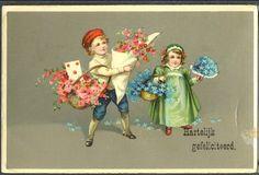 ~HB023 COUPLE d ENFANTS CORBEILLE de ROSES & MYOSOTIS FANTAISIE Illustrée~