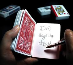 52 specially commissioned playing cards with blank faces. Bound along one edge to make a pocket size book.