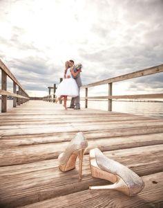 Shoes, pier, composition.