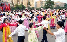 위대한 령도자 김정일동지께서 당중앙위원회에서 사업을 시작하신 53돐경축 청년학생들의 무도회 진행