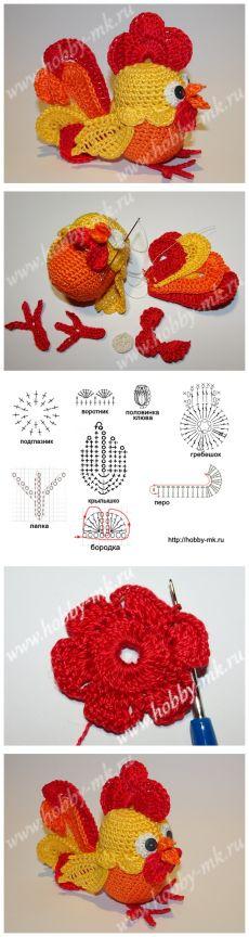 Вот так ПЕТУШОК... Петушок из киндера крючком Crochet Birds, Crochet Leaves, Crochet Buttons, Crochet Quilt, Easter Crochet, Crochet Motif, Crochet Crafts, Crochet Projects, Knit Crochet