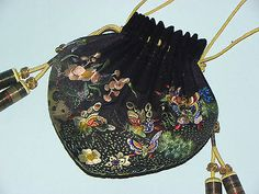 Fine Antique Chinese Silk Embroidered Figural Scent Pouch Purse Butterfly Flower | eBay