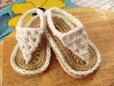 Buggs - Crochet White Baby Thong Sandals - Pick Your Color on Etsy, $14.50