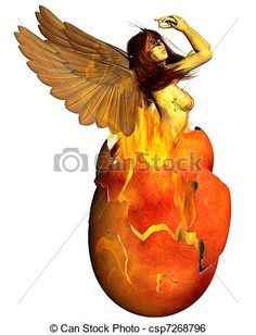 Stock Illustration - Phoenix Woman Reborn from the Flame - stock illustration, royalty free illustrations, stock clip art icon, stock clipart icons, logo, line art, pictures, graphic, graphics, drawing, drawings, artwork