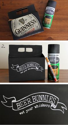 Chalkboard spray-paint a six-pack, decorate with home brew label!  #AngryInchBrewing