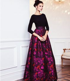 Adrianna Papell Floral Jacquard Gown Modest Outfits, Skirt Outfits, Indian Dresses, Indian Outfits, Evening Dresses, Prom Dresses, Ballroom Dress, Sweet Dress, Formal Gowns
