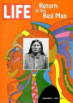 """***like the idea of having the artist's face on top of their art**** - Life Magazine cover by Milton Glaser """"Return of the Red Man"""" / December 1967 Milton Glaser, Life Magazine, Vintage Magazines, Vintage Ads, Life Cover, After Life, Art Design, Graphic Design, Graphic Art"""