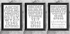 Alphabet cross stitch pattern PDF/ 3 little block fonts/ ABC