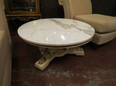 Vintage Antique Italian Round Marble Top Coffee Table 295