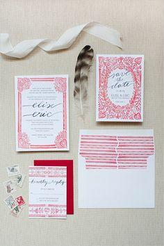 #red and #white #wedding #stationery @weddingchicks