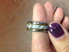 Titanium Ring with Wood and Texalium Wedding Ring Hand, Wedding Rings, Titanium Rings, Carbon Fiber, Hawaiian, Dream Wedding, Rings For Men, Shots, Silver Rings