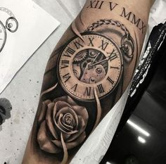 Tatuagem baby tattoos, new tattoos, time tattoos, tattoos for guys, body . Rose Tattoos, Body Art Tattoos, Tribal Tattoos, Clock Tattoos, Clock Tattoo Sleeve, Baby Tattoos, Arm Tattoos For Women, Tattoo Designs For Women, Tattoos For Guys