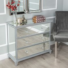 Mirrored Bedroom Furniture Width 80 cm Happy Beds Seville Silver 3 Drawer Chest Height 82 cm Depth 40 cm