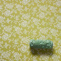 Soft pattern roller no. 1632 - flower meadow ... Musterwalze / Strukturwalze mit dichtem Blütenmuster / Blumenteppich - Handmade in Germany by
