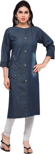 Women's Denim Rough Look Straight Fit Kurta by Trendys shop - Online shopping for Kurtas on MyShopPrime - Denim Kurti, All Fashion, Fashion Outfits, Indian Dresses Online, Womens Denim Dress, Indian Tunic, Tunic Designs, Pakistani Dress Design, Looks Chic