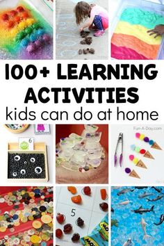 Over 100 simple and engaging learning activities for preschoolers at home! Love that it comes with a free printable filled with ideas. Preschool Art Activities, Preschool Lesson Plans, Indoor Activities For Kids, Free Preschool, Preschool Printables, Creative Activities, Toddler Preschool, Preschool Activities, Children Activities