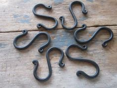 Set of six hand forged short metal S hooks by silverlakeforge
