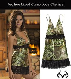 Realtree Camo Lace Chemise Lingerie - have to order the chick with it .I don't look like that in this! Camo Outfits, Sexy Outfits, Fashion Outfits, Camo Fashion, Redneck Outfits, Camo Lingerie, Sexy Lingerie, Camo Bra, Lingerie Outfits