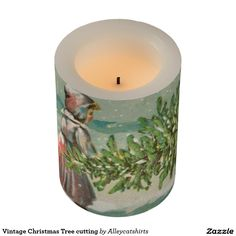 Vintage Christmas Tree cutting Flameless Candle