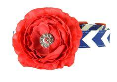 Red White Blue Chevron Dog Collar Flower Set #4thofJuly #RedWhiteBlue #patriotic