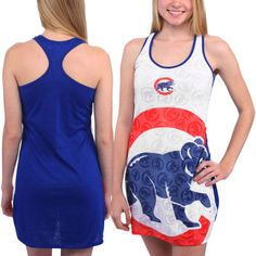 Women's Chicago Cubs White Cameo Burnout Nightshirt