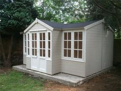 Summer houses Essex - Cuprinol Natural Stone and Pale Jasmine Now You Can Build ANY Shed In A Weekend Even If You've Zero Woodworking Experience! Painted Garden Sheds, Painted Shed, Wooden Garden, Painted Fences, Glass Garden, Shed Paint Colours, Cuprinol Garden Shades, Gardens, Landscaping
